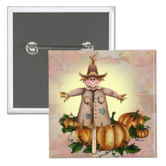 SCARECROW & PUMPKIN PATCH by SHARON SHARPE Pinback Button