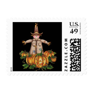 SCARECROW & PUMPKIN PATCH by SHARON SHARPE Postage Stamp