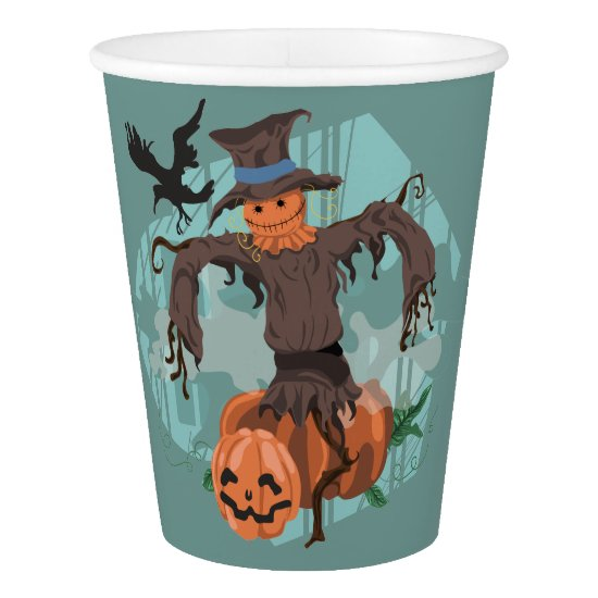 Scarecrow, Pumpkins and a Crow Halloween on Teal Paper Cup