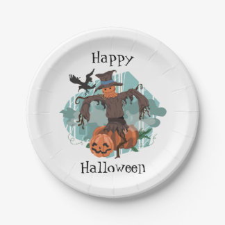 Scarecrow, Pumpkins and a Crow Halloween Paper Plate