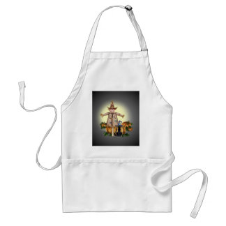 SCARECROW, PUMPKINS & CAT by SHARON SHARPE Adult Apron