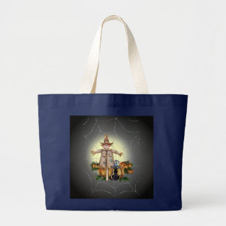 SCARECROW, PUMPKINS & CAT by SHARON SHARPE Large Tote Bag