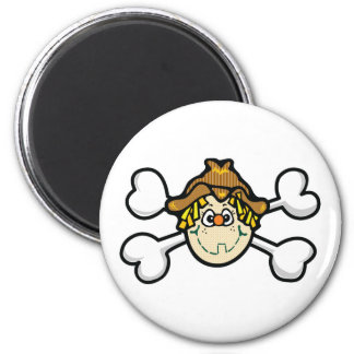 scarecrow Skull and Crossbones 2 Inch Round Magnet