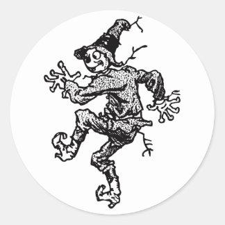 Scarecrow Striding Classic Round Sticker