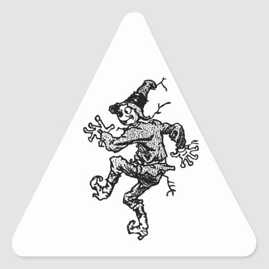 Scarecrow Striding Triangle Sticker