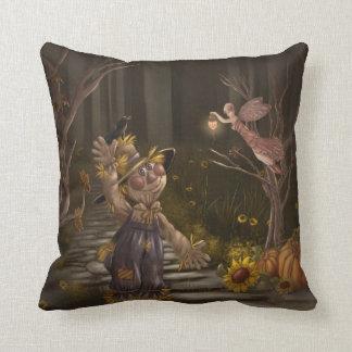 """Scarecrow Visiting Fairy """"Hello""""  Rachael Tallamy Pillow"""