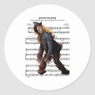 Scarecrow w/Sheet Music Background Classic Round Sticker
