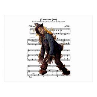 Scarecrow w/Sheet Music Background Postcard