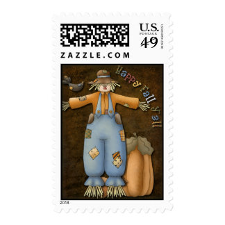 Scarecrow with crow and pumpkin postage stamp