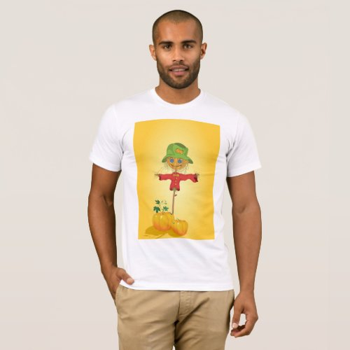 Scarecrow With Pumpkins Mens T_Shirt