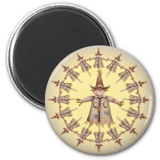 SCARECROW WREATH by SHARON SHARPE 2 Inch Round Magnet