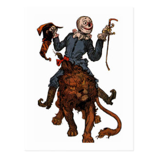 Scarecrows Gets A Ride From The Lion Postcard