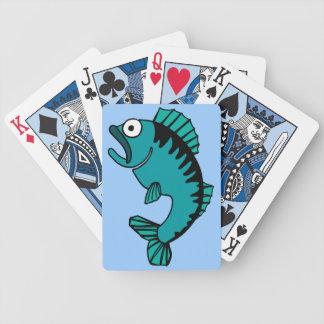 Scared Bass Fish Fisherman Cartoon Design Bicycle Playing Cards