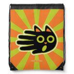 Hand shaped Scared Black Cat Drawstring Bag