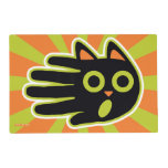 Hand shaped Scared Black Cat Placemat