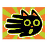 Hand shaped Scared Black Cat Postcard