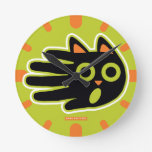 Hand shaped Scared Black Cat Round Clock