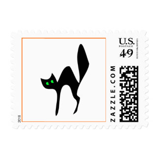 scared-black-cat stamp