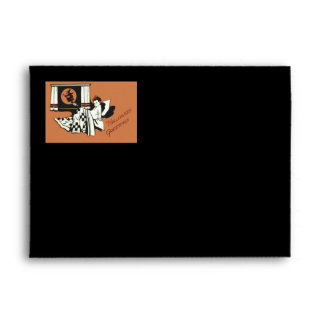 Scared Boy Bed Witch Full Moon Window Envelope