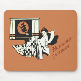 Scared Boy Bed Witch Full Moon Window Mouse Pad