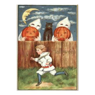 Scared Boy Black Cat Ghost Costume Pumpkin Card
