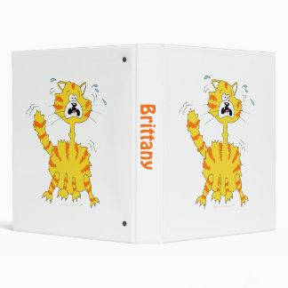 Scared Cartoon Cat Custom Name Binder Template