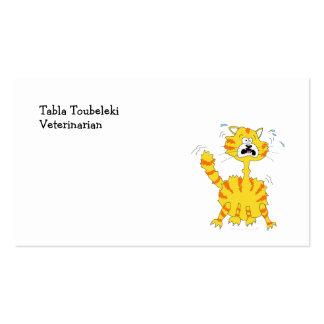 Scared Cartoon Cat Funny Business Card