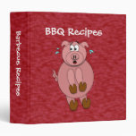 Scared Cartoon Pig Funny Barbecue Recipe Binder