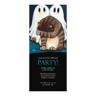 Scared Cat and Ghosts Halloween Party Invitation