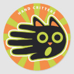 Hand shaped Scared Cat Classic Round Sticker