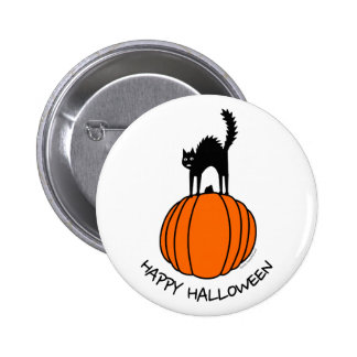 Scared Cat Halloween Pinback Button