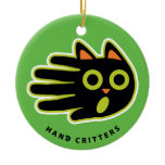 Hand shaped Scared Cat ornament