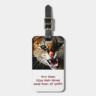 Scared cat painting luggage tag