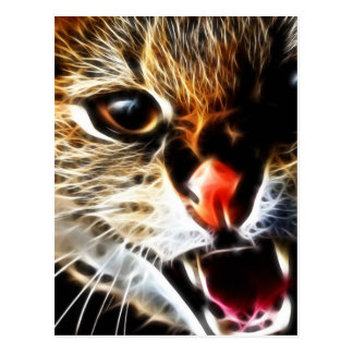 Scared cat painting postcard