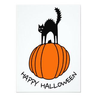 Scared Cat & Pumpkin - Halloween Card
