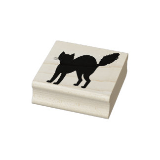 Scared cat silhouette art stamp