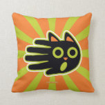 Hand shaped Scared Cat Throw Pillow