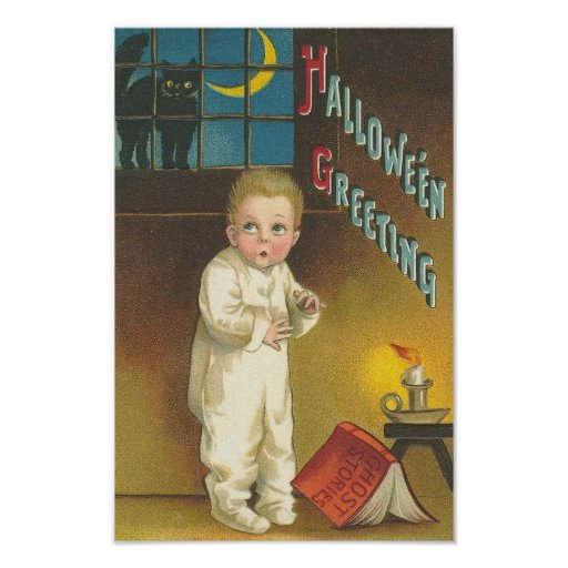 Scared Child With Cat in Window Poster