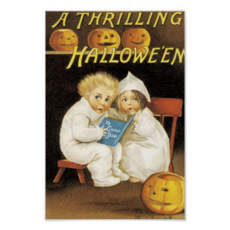 Scared Children on Halloween Print