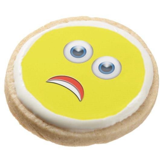 scared emoji birthday party round shortbread cookie zazzle com