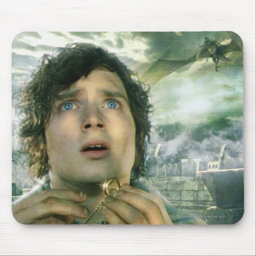 Scared Frodo Holding Ring Mouse Pad