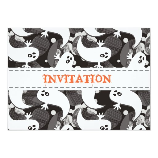 """scared ghosts party invitation 5"""" x 7"""" invitation card"""