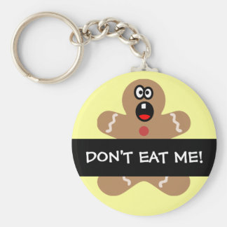 Scared Gingerbread Men the Best Christmas Guests Basic Round Button Keychain