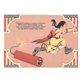 Scared Girl Firecracker Fireworks Card