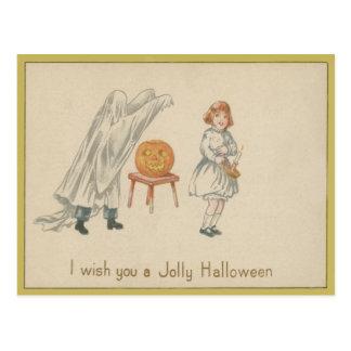 Scared Girl Ghost Costume Jack O Lantern Postcard