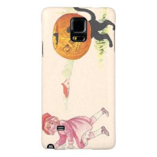 Scared Girl Jack O' Lantern Black Cat Galaxy Note 4 Case