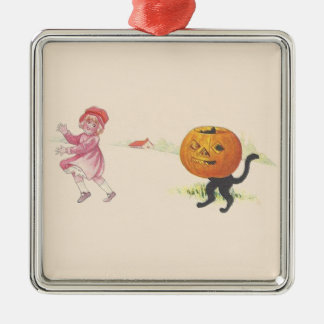 Scared Girl Jack O' Lantern Black Cat Metal Ornament