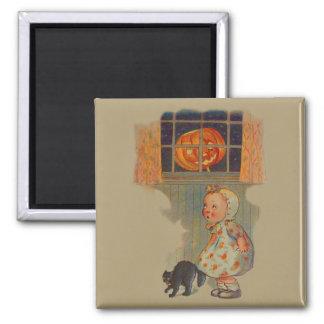 Scared Girl Jack O' Lantern Black Cat Prank 2 Inch Square Magnet