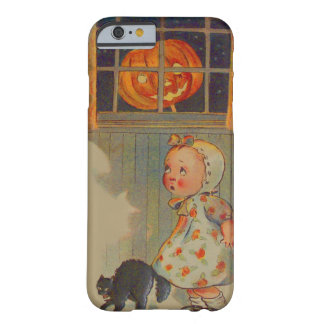Scared Girl Jack O' Lantern Black Cat Prank Barely There iPhone 6 Case