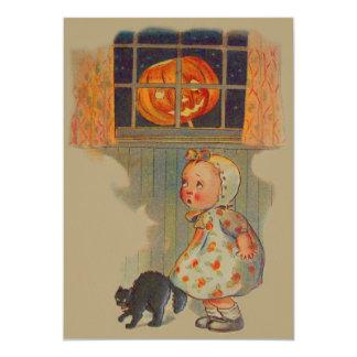 Scared Girl Jack O' Lantern Black Cat Prank Card